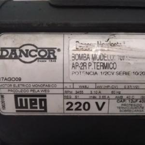 BOMBA MONOFÁSICA DANCOR WEG 1/2CV 220V