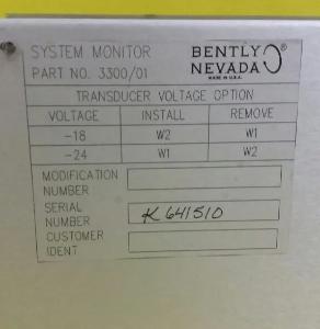 SISTEMA MONITOR BENTLY NEVADA 3300/01-01-00
